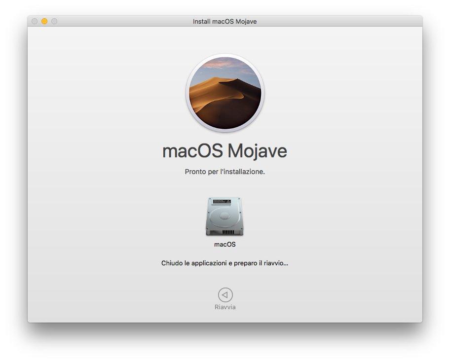 macOS 1013 - Installa Mojave 08 - Riavvio in corso