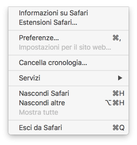 macOS - Safari - Menù Safari