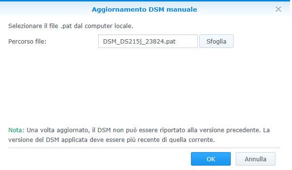 Synology - DSM - Aggiornamento manuale - File selezionato 02