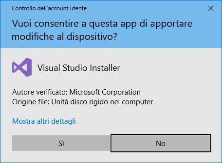 Microsoft Visual Studio - Conferma Richiesta Installazione