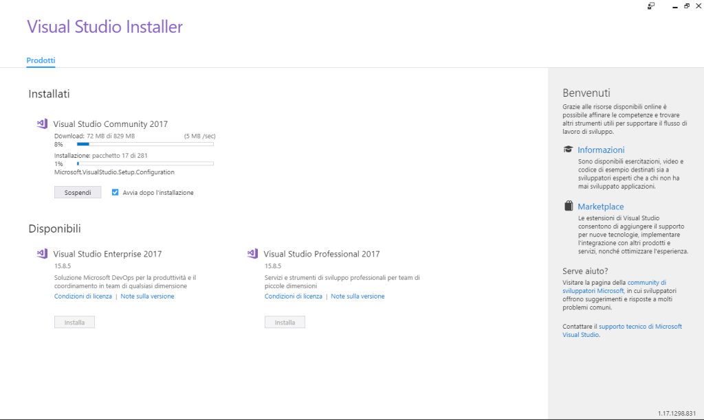 Microsoft Visual Studio 2017 Community Edition - Installazione - Download Installazione 02