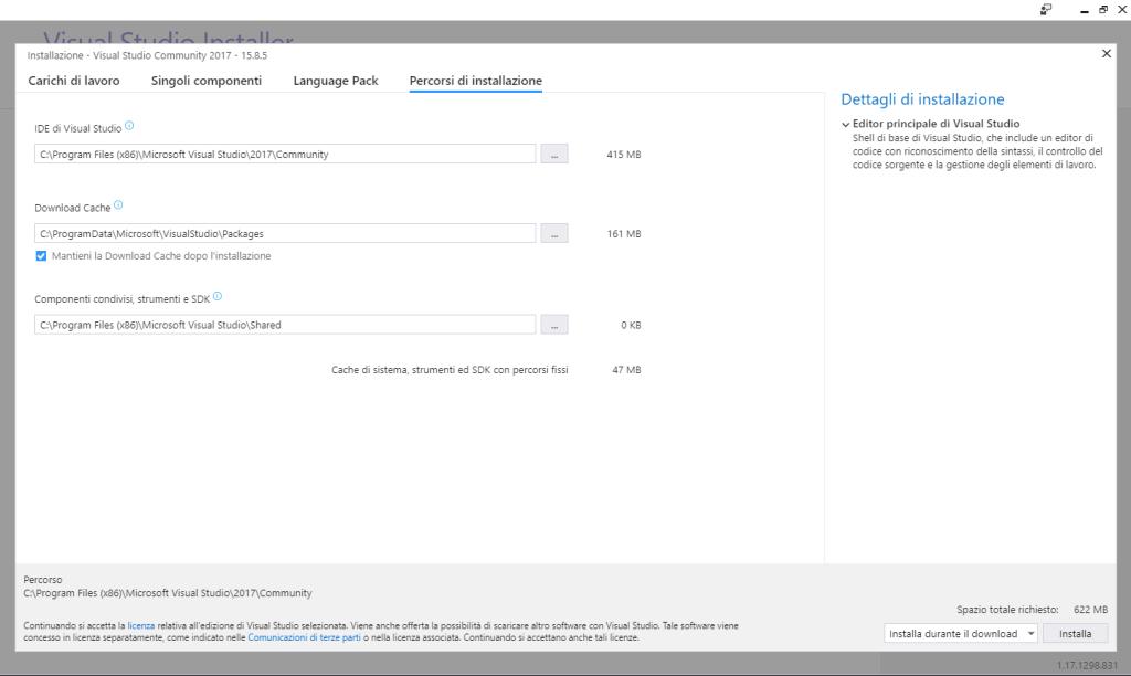 Microsoft Visual Studio 2017 Community Edition - Installazione - Percorsi Installazione