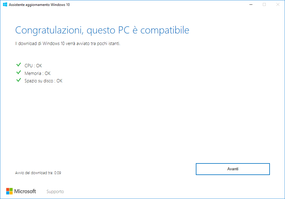 Microsoft Windows 10 - v1809 - Assistente Aggiornamento - PC Compatibile