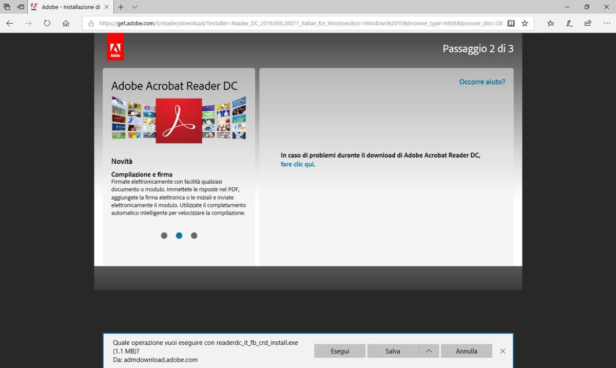 Adobe Acrobat Reader DC - Sito Download - Passaggio 2 di 3 - download installer
