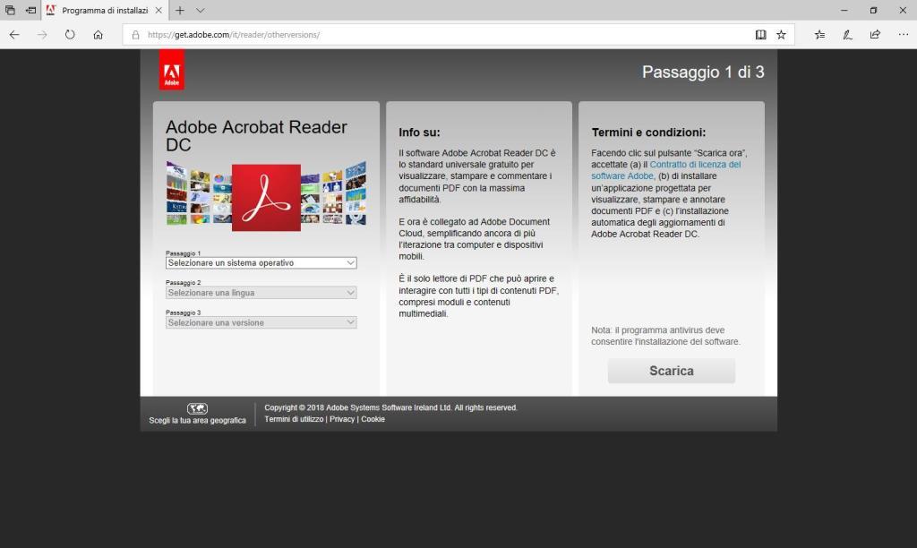 Adobe Acrobat Reader DC - Sito Download - Selezione Versione Lingua