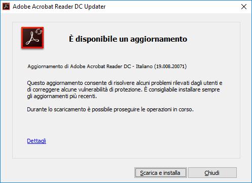 Adobe Acrobat Reader DC - Aggiornamento Trovato