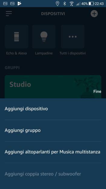 Amazon Alexa - App - Dispositivi - Aggiungi