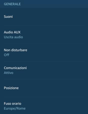 Amazon Alexa - Echo Plus - Impostazioni - Generale 01