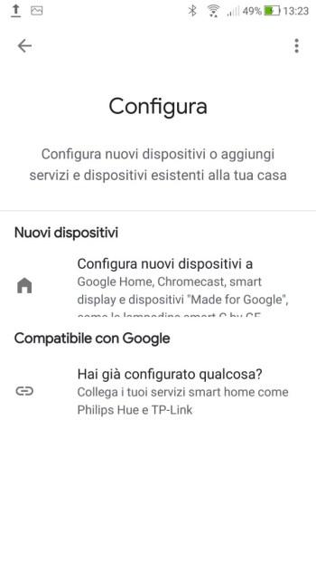 Google Home - Configura dispositivo