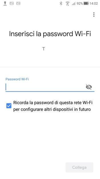 Google Home - Inserisci password Wi-Fi