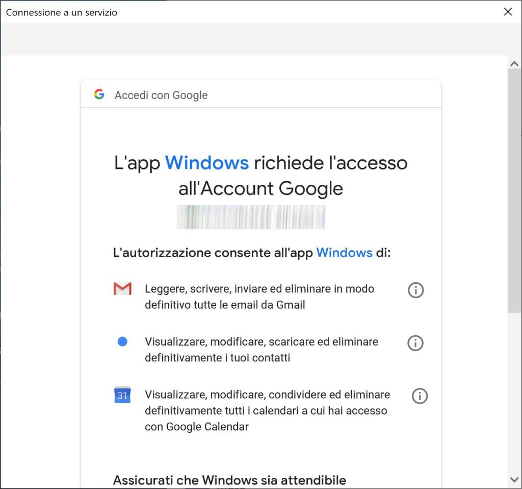 Windows 10 - Posta - Aggiungi Account - Consenti 01
