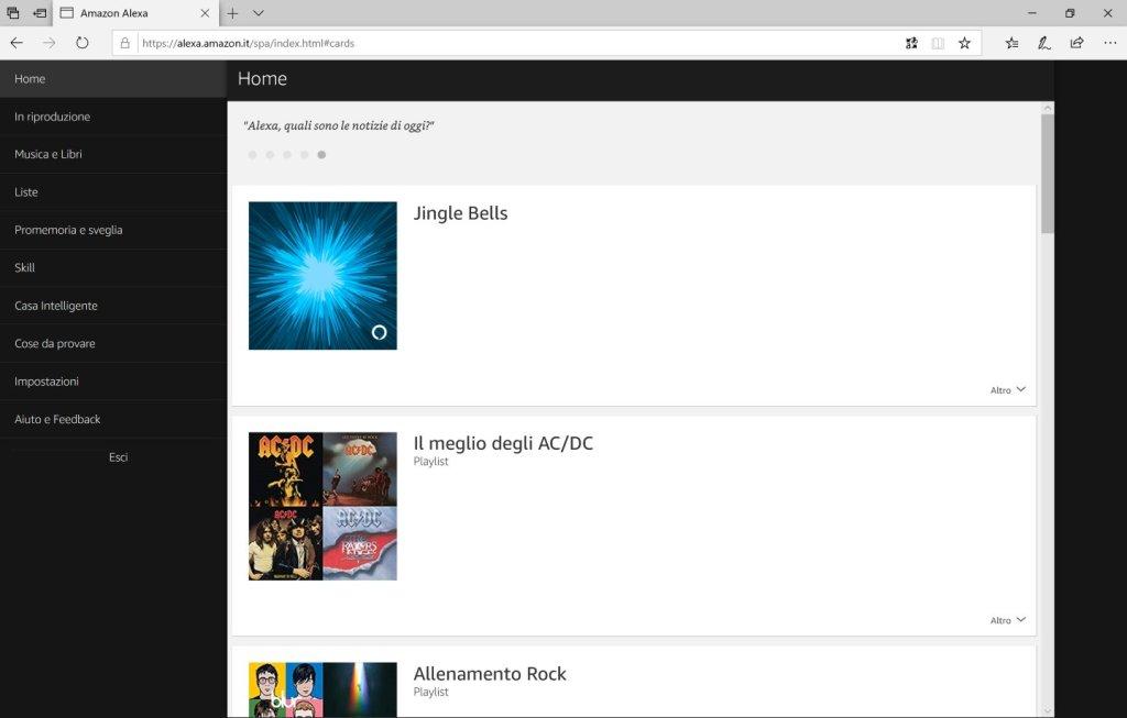 Amazon Alexa - Browser - Accesso Effettuato