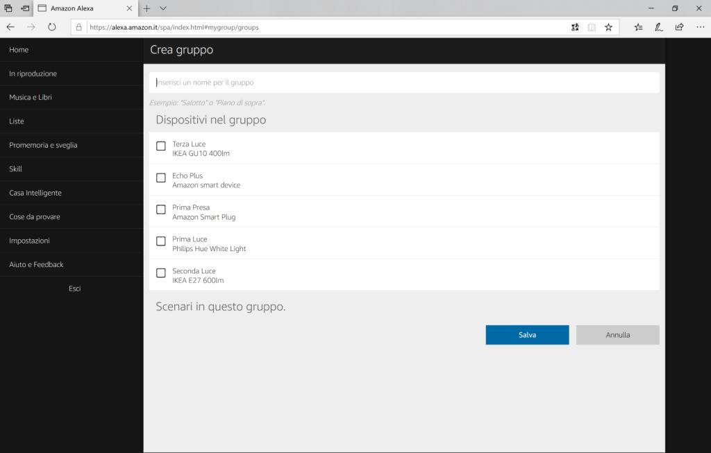 Amazon Alexa - Browser - Selezionare Nome gruppo e dispositivi