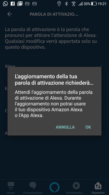 Amazon Alexa - Configurazione Echo Dot - Parola di attivazione cambiata