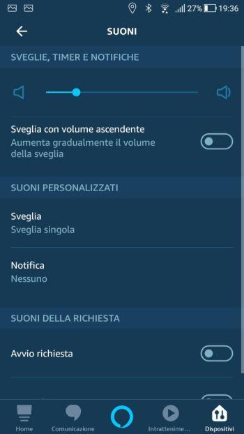 Amazon Alexa - Configurazione Echo Dot - Suoni