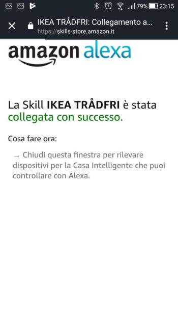 Amazon Alexa - App - Skill Ikea Tradfri - Skill Collegata con successo