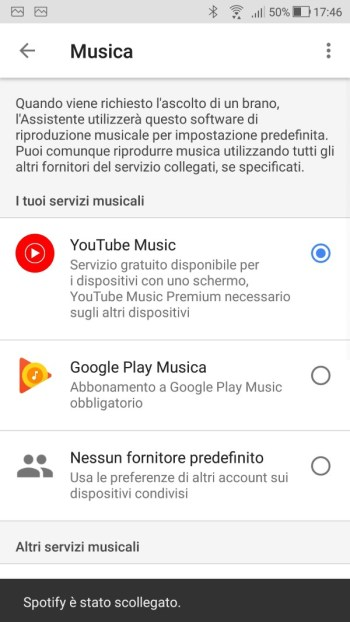 Google Home - Maschera Musica - Account Spotify Scollegato