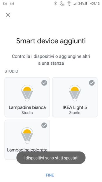 Ikea TRÅDFRI - App - Google Home - Stanza selezionata terminata