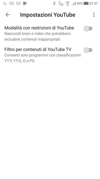Google Home - App - Dispositivo SalottoDark - Impostazioni YouTube