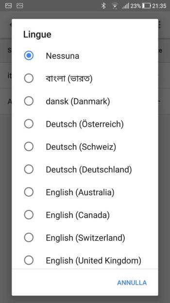 Google Home - App - Lingue - Elenco