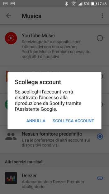 Google Home - Maschera Musica - Scollegare account Spotify