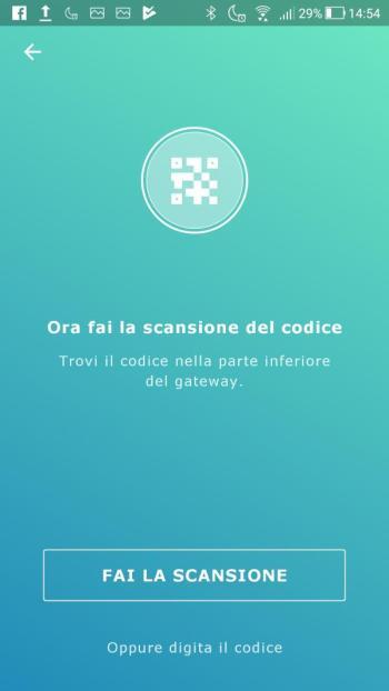 Ikea TRÅDFRI - App - Scansione codice a barre Gateway