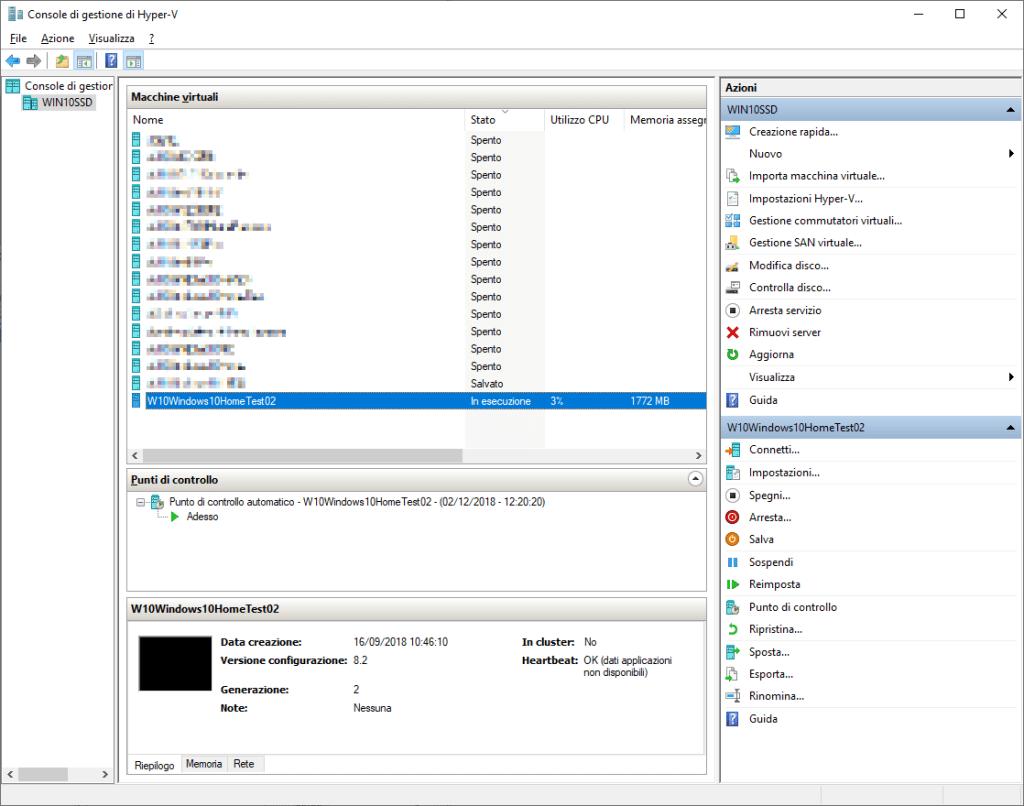 Windows 10 - Console di gestione di Hyper-V