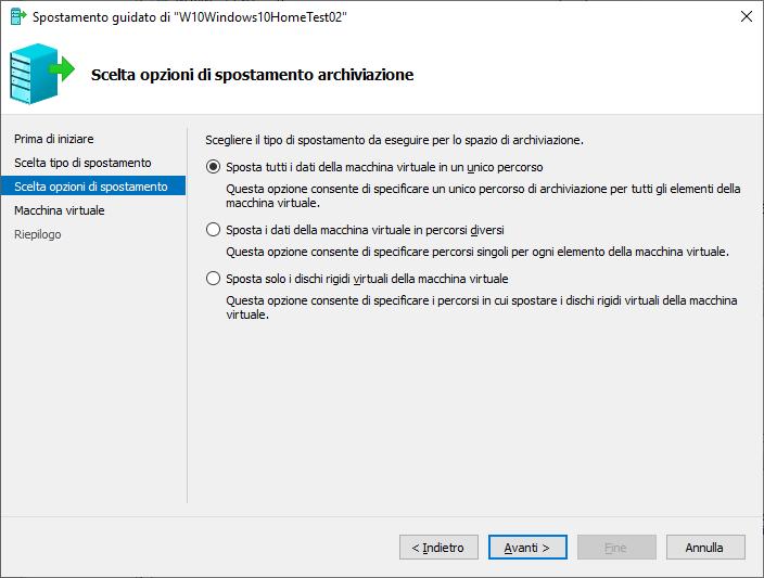 Windows 10 - Hyper-V - Opzioni spostamento