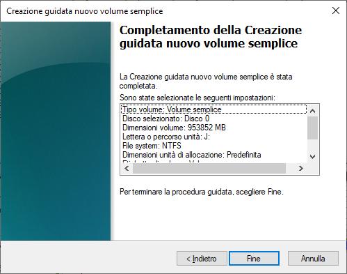 Windows 10 - Gestione Disco - Nuovo Volume Semplice - Completamento