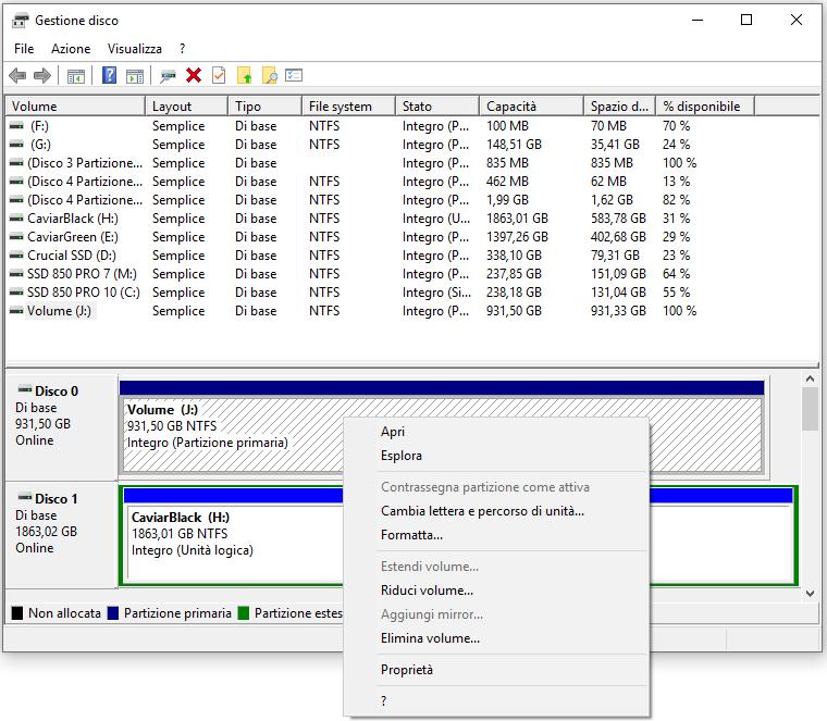 Windows 10 - Gestione Disco - Menù contestuale
