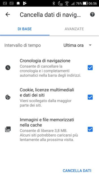 Google Chrome - Android - Cronologia - Cancella - Base