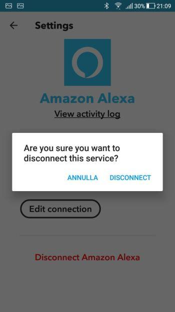IFTTT - Applet Amazon Alexa - Configurazioni - Scollegamento