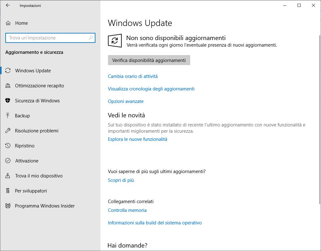 Windows 10 1809 - Aggiornamento e sicurezza