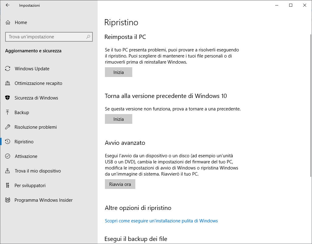 Windows 10 1809 - Aggiornamento e sicurezza - Ripristino