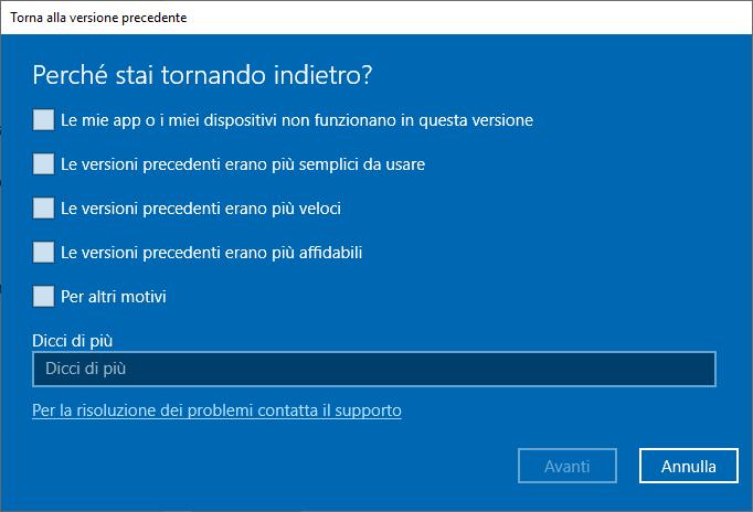 Windows 10 1809 - Torna alla versione precedente di Windows 10