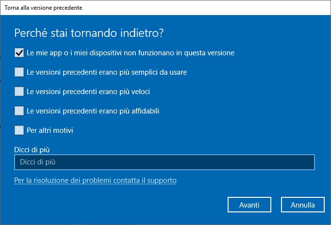 Windows 10 1809 - Torna alla versione precedente di Windows 10 - Motivazione