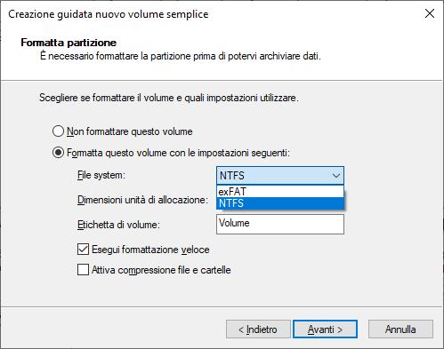 Windows 10 - Formattazione Disco - Scelta File System