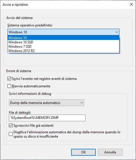 Windows 10 - Avvio e ripristino - Elenco sistemi operativi