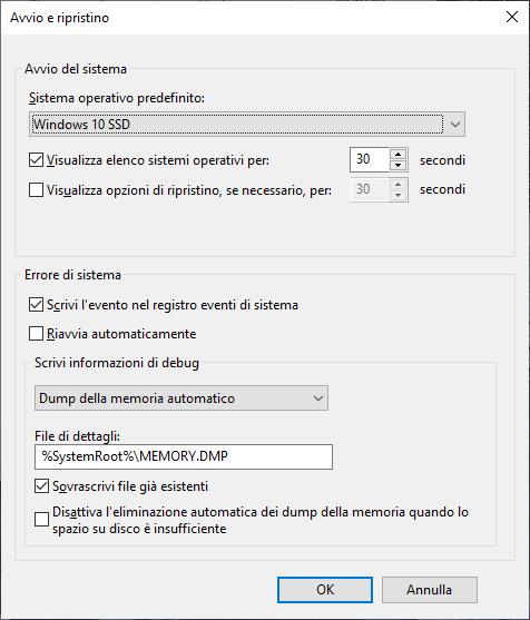 Windows 10 - Avvio e ripristino - Sistema operativo selezionato