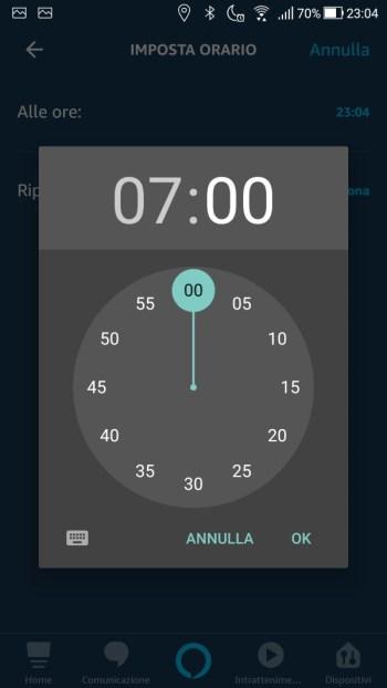 Amazon Alexa App - Maschera quando questo accade - Orario