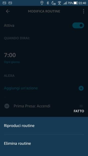 Amazon Alexa App - Menù contestuale routine