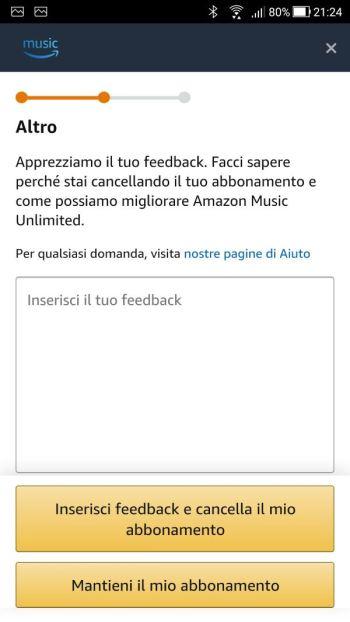 App Amazon Music - Cancellazione abbonamento - Feedback