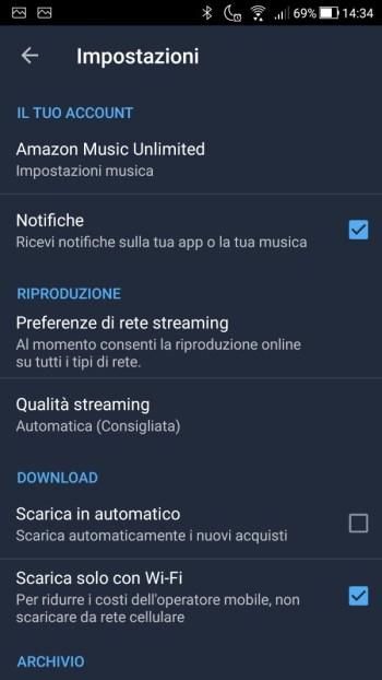 App Amazon Music - Impostazioni