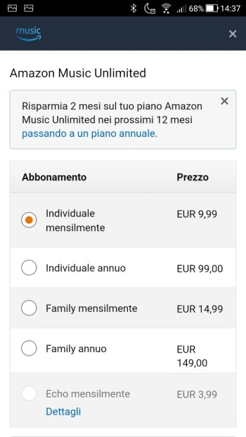App Amazon Music - Impostazioni Account 01