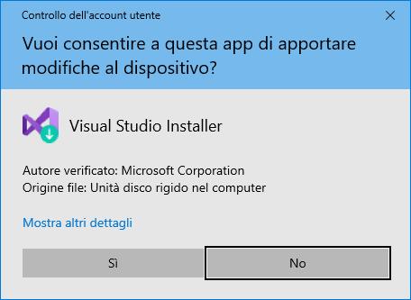Microsoft Visual Studio 2019 - Richiesta conferma