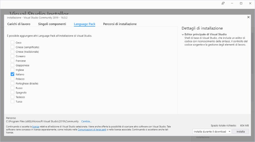 Microsoft Visual Studio 2019 - Installazione - Language Pack