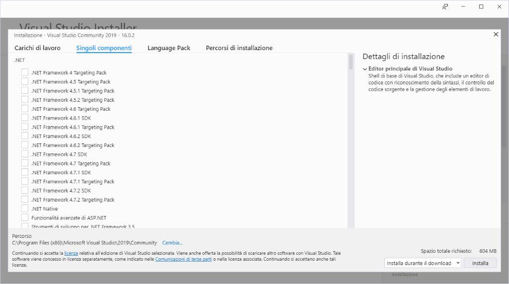 Microsoft Visual Studio 2019 - Installazione - Singoli componenti