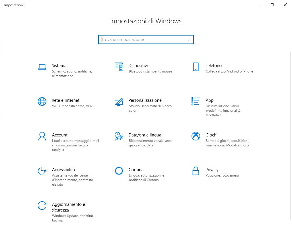Windows 10 1809 - Impostazioni