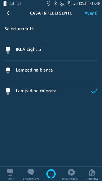 Amazon Alexa App - Routine - Maschera Casa Intelligente - Lampadine - Selezione