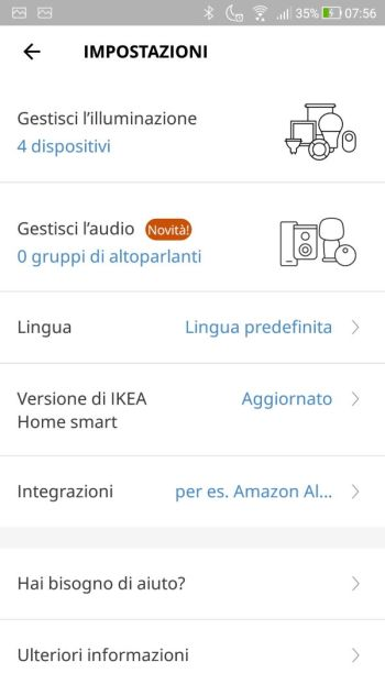App IKEA Home Smart - Impostazioni
